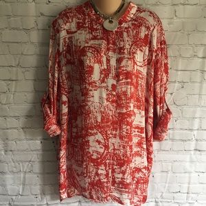 TravelSmith print tunic blouse roll-up sleeves XL